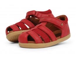 Sandale copii Global din piele naturală roșie