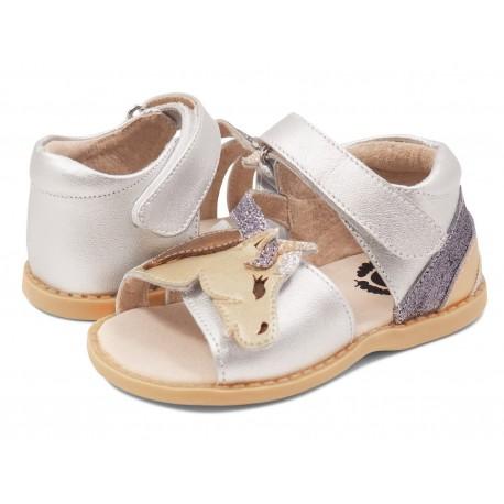 Sandale fete Unicorn din piele naturală argintie