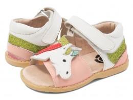 Sandale fete Unicorn din piele naturală roz (multicolor)