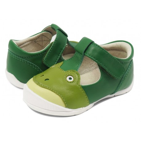 Pantofi copii Froggie din piele naturală verde