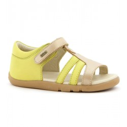 Sandale fete Precious din piele naturala citron